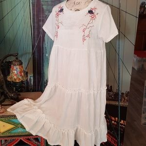 Embroidered gauzy dress